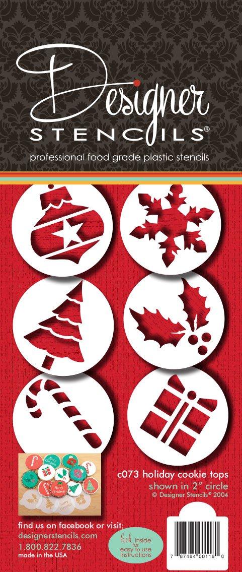 Designer Stencils C073 Holiday Cupcake and Cookie Stencil Tops, Beige/semi-transparent