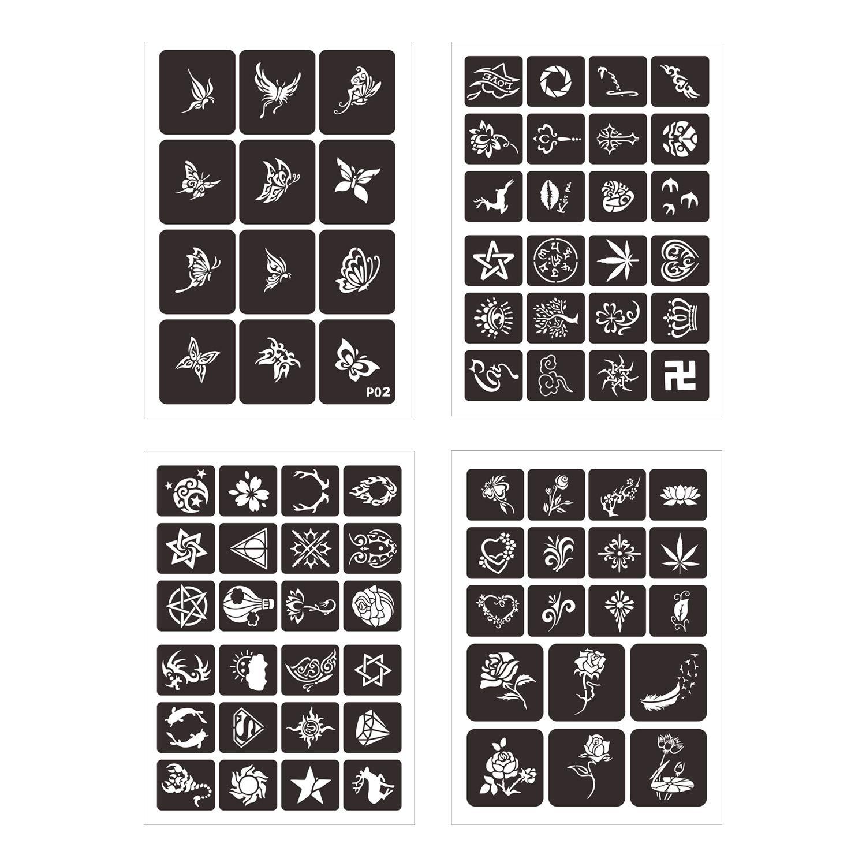 LAOZHOU 367 designs Face Paint Stencils Body Art Stencil Pack ...