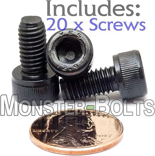 Qty 20 Socket Head Cap Screws 12.9 Alloy Steel Black Ox M6 6mm x 1.00 x 12mm