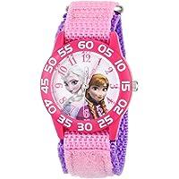 Disney Kids' W001790 Frozen Elsa and Anna Watch, Pink Nylon Band