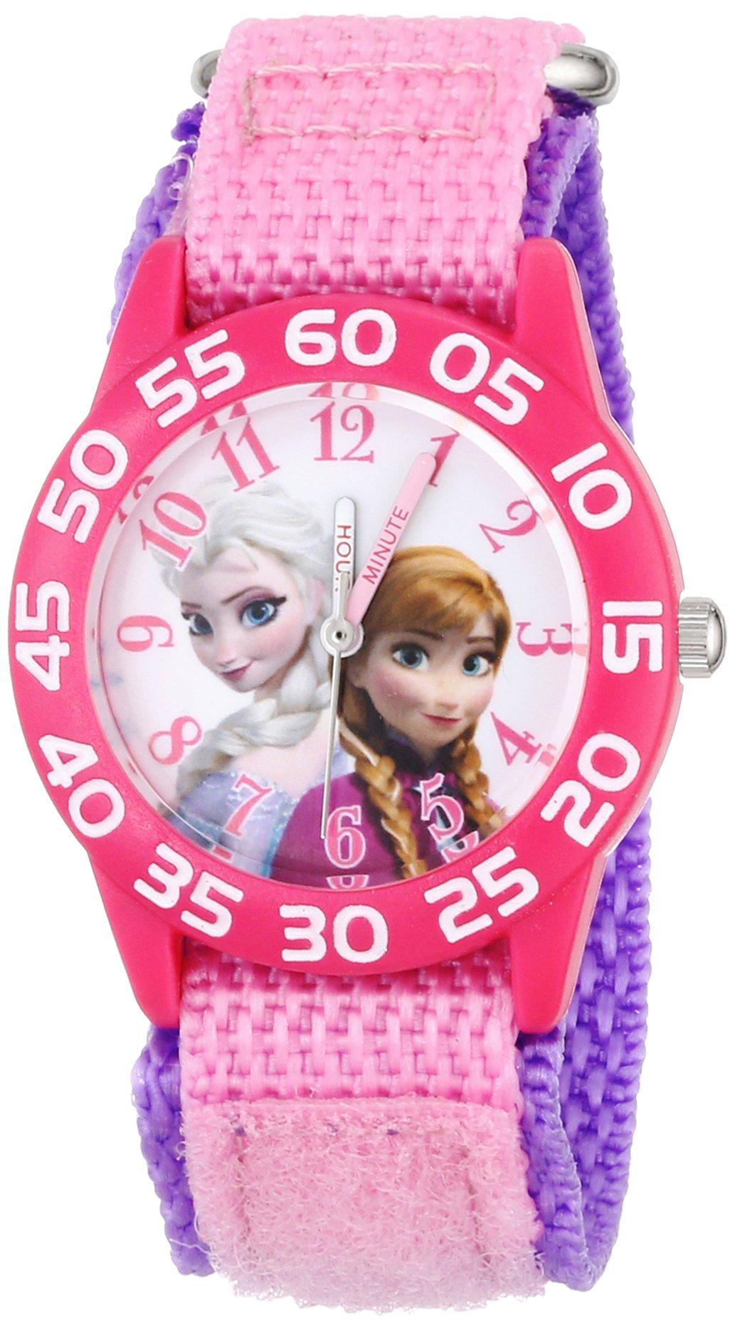 Disney Kids' W001790 Frozen Elsa and Anna Watch, Pink Nylon Band by Disney