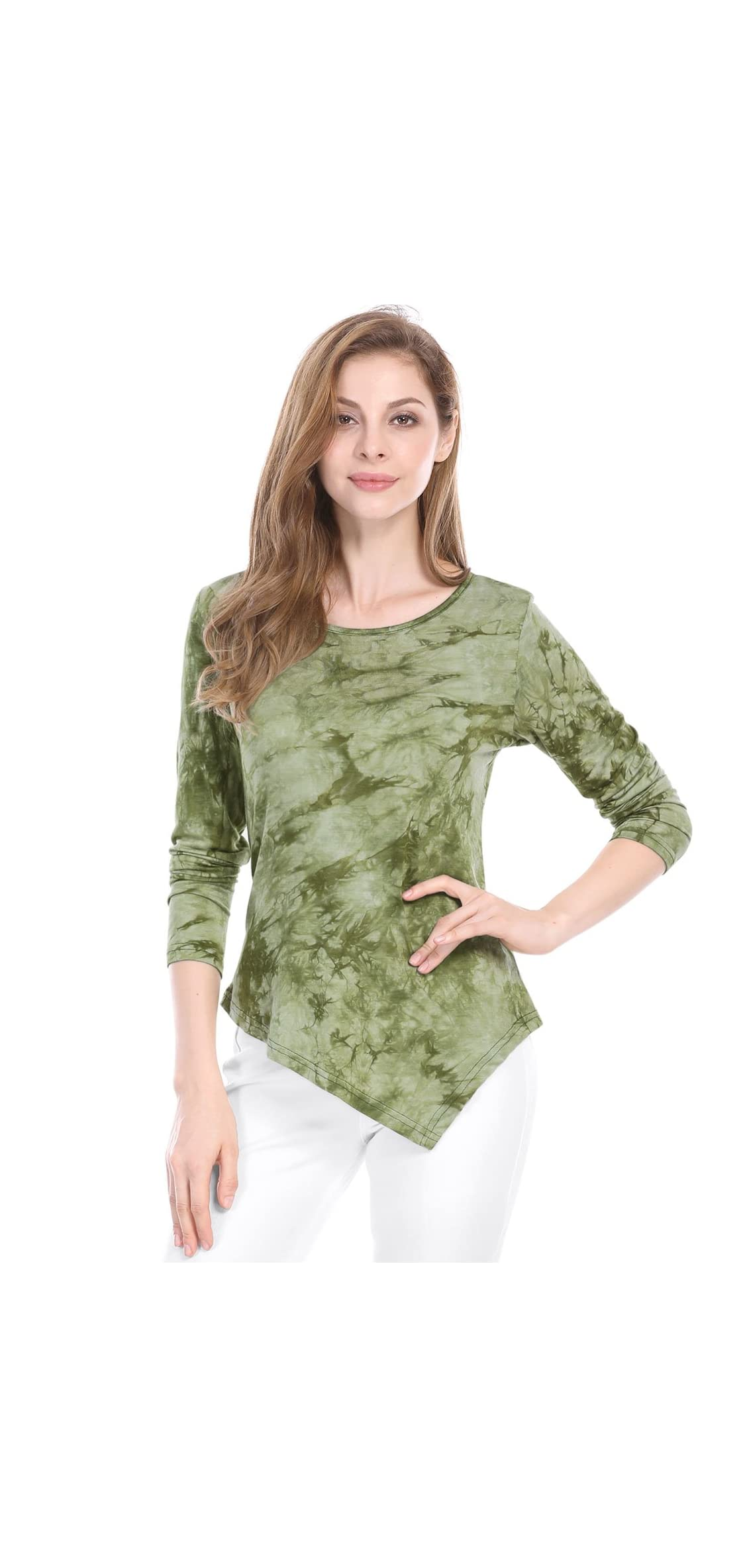 Women's Long Sleeves Tie-dye Crew Neck Handkerchief
