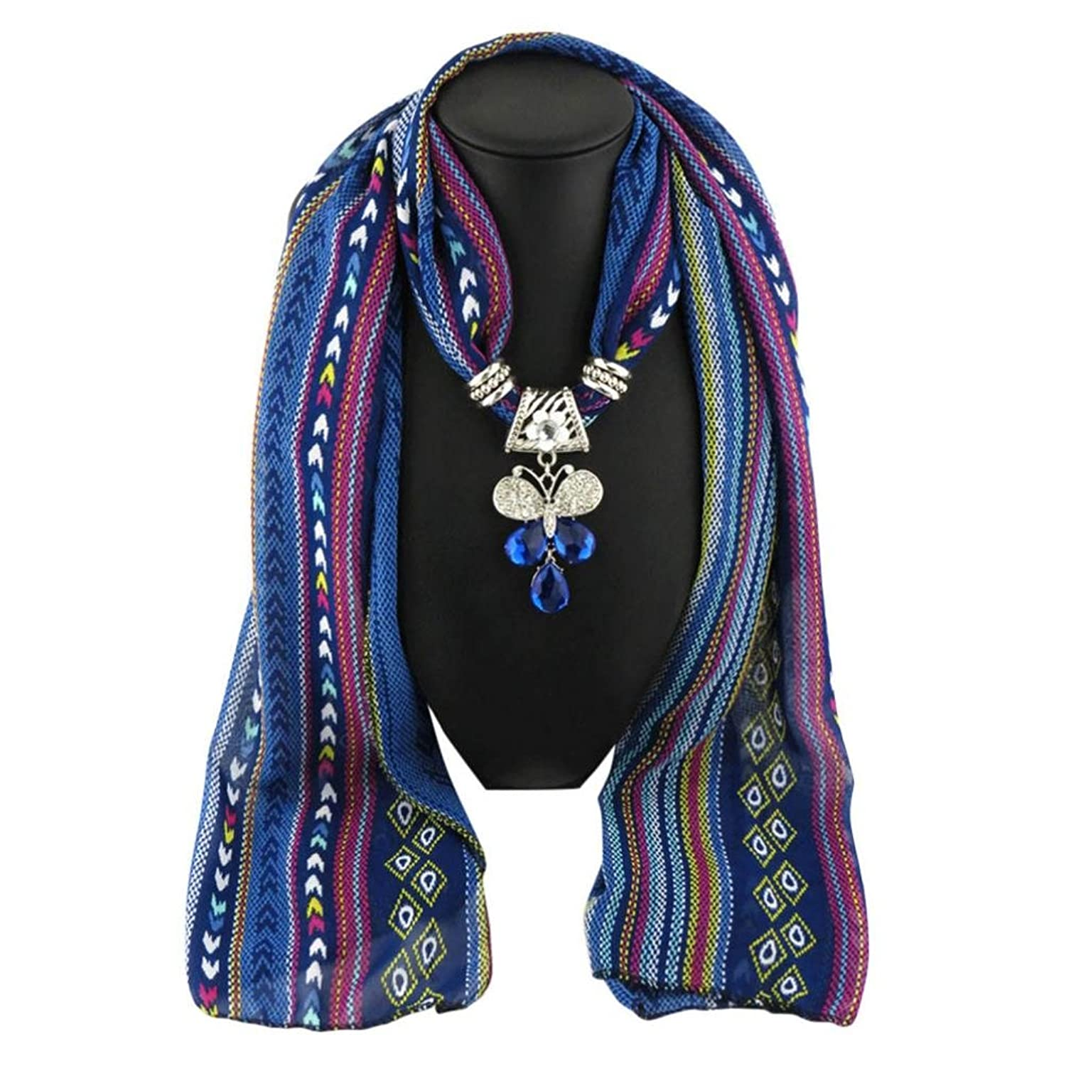 Tiean Women Pendant Scarf With Tassel Rhinestone Jewelry Scarves