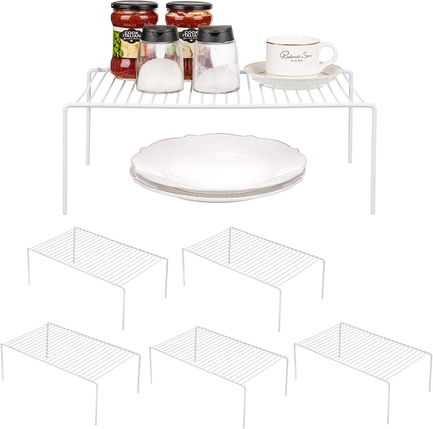 iPEGTOP 6 Pack Large Freezer Cabinet Storage Shelf Rack, Rustproof Stainless Steel Kitchen Organizer Space Saver for Fridge Pantry Shelves Countertops - White