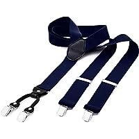 DonDon tirantes anchos 3,5 cm para hombres con 4x clips con cuero en forma de Y - elástico y longitud ajustable