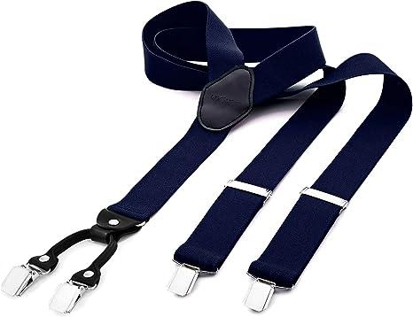 DonDon tirantes anchos 3, 5 cm para hombres con 4x clips con cuero en forma de Y - elástico y longitud ajustable - azul: Amazon.es: Ropa y accesorios