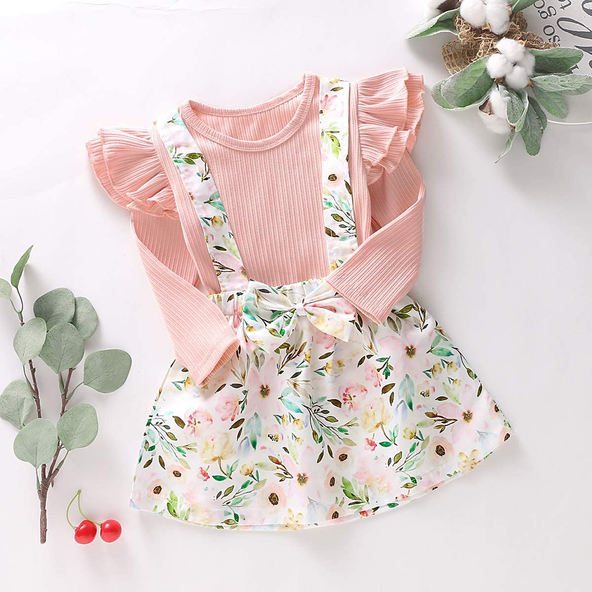 greatmtx 2pcs//Set Kids Toddler Girl Ruffle Long Sleeve Shirt Floral Suspender Skirt Outfits Clothes Set for 1-6 Years
