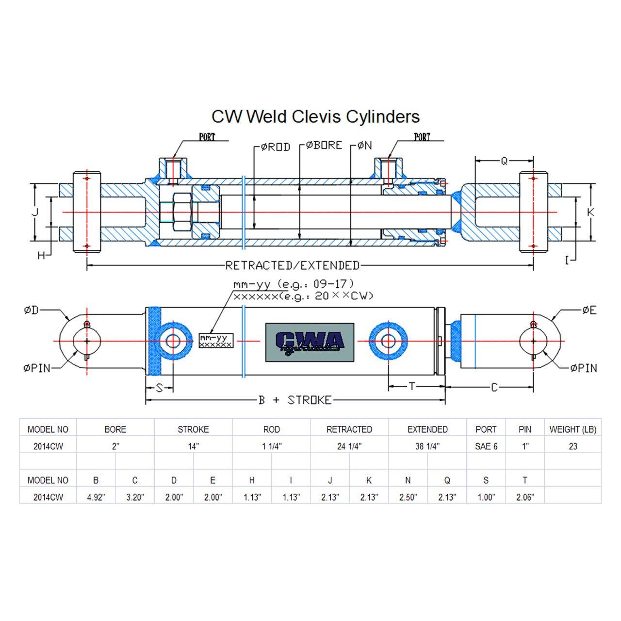 CWA Hydraulics CW Weld Clevis Hydraulic Cylinder 3 Bore x 8 Stroke x 1 1//2 Rod x SAE 8 Port x 3000 PSI