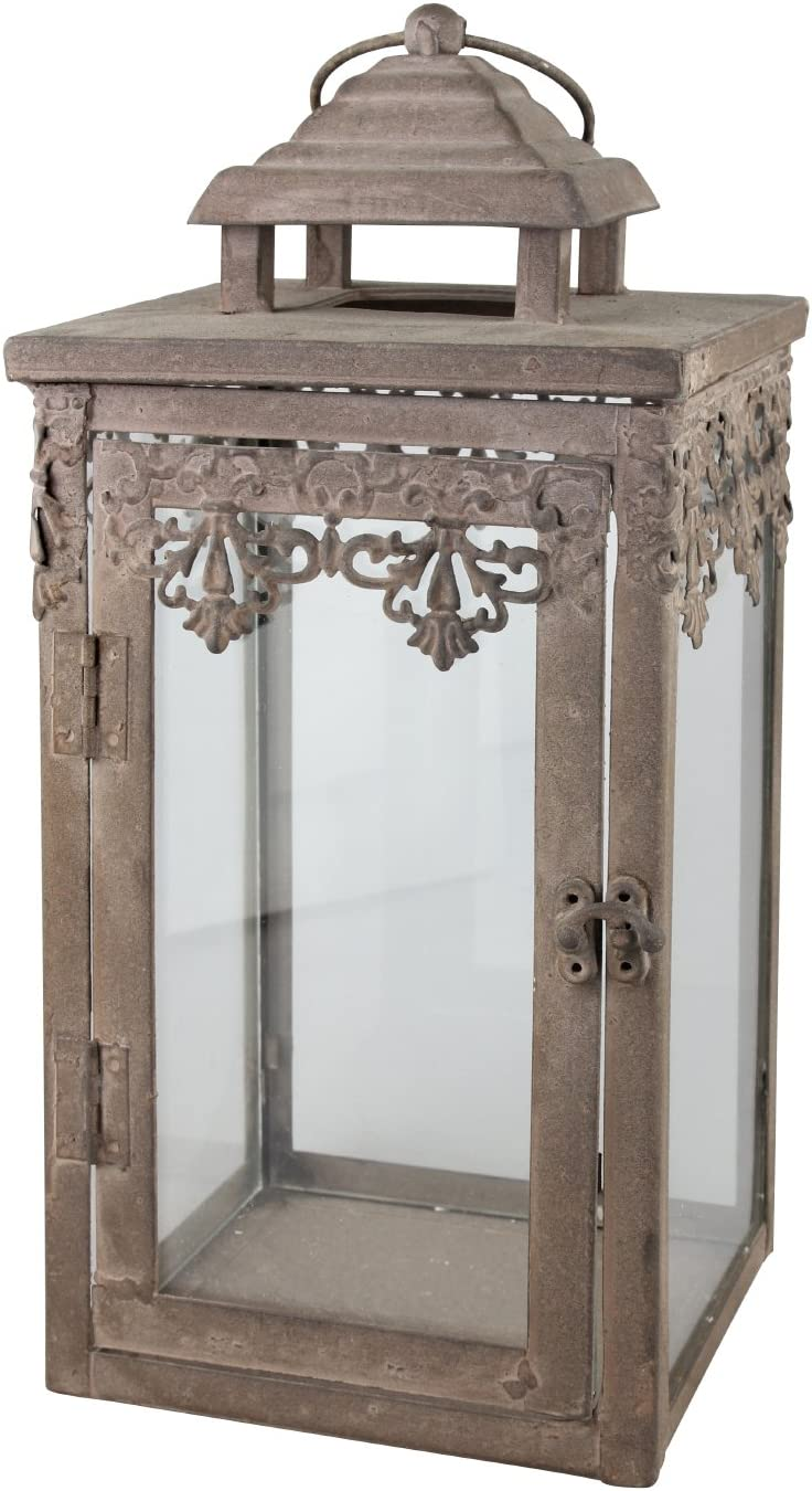Stonebriar Decorative Fleur De Lis Metal Candle Lantern, Decoration for Parties, Vintage Wedding Centerpiece, or Create a Relaxing Spa Setting, Wall Hanging or Table Top Display, Indoor or Outdoor Use