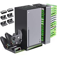 OIVO Pionowy stojak do konsoli Xbox Series X, kontroler stacja ładująca z 2 akumulatorami 1300 mAh do Xbox Series X S…