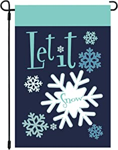 CAVLA Let it Snow Christmas Garden Flag 12 x 18 Inch Double Sided Winter Snowflake Applique Embroidered Christmas Winter Holiday Farmhouse Yard Outdoor Decoration
