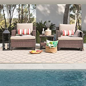 SUNSITT All Weather Woven Deluxe 3-Piece Chat Set Lounge Chairs and Side Table w/Aluminum Top, Neutral Beige Olefin Fabric Cushions & Brown Wicker