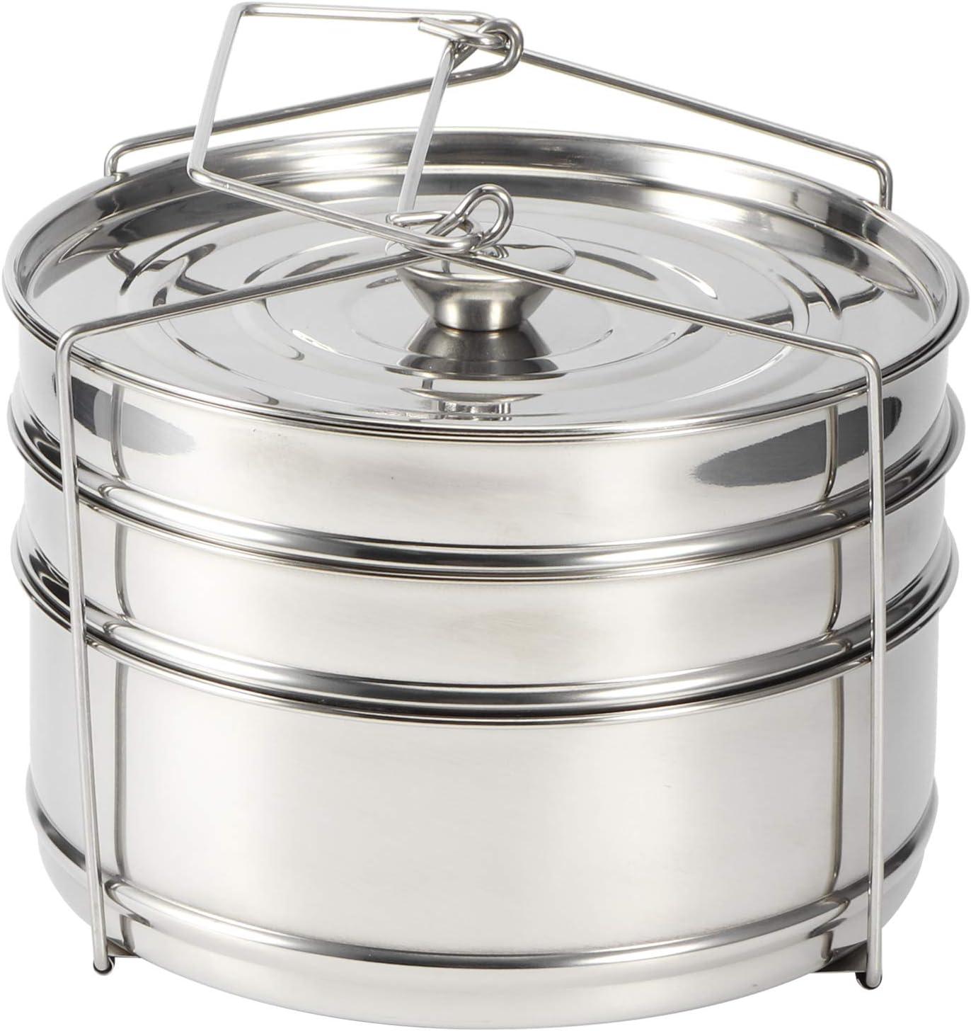 Ladieshow Stackable 3 Tier Stainless Steel Steamer Cooker Pot Set Cook Food Pressure Pot Accessories for Pressure Cooker, Upgrade Interchangeable Lids