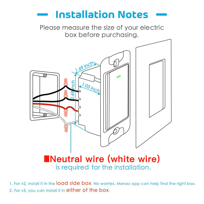 Smart 3 Way Light Switch (Only One Needed), Meross Smart WiFi Light on