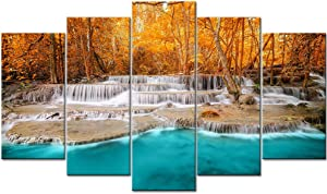 DekHome 5 Panels Waterfall Canvas Prints Wall Art Beautiful Blue Lake in Autumn Forest Wall Decor Stream Water Scenery Picture Nature Poster Print Wooden Artwork Home Decor for Living Room
