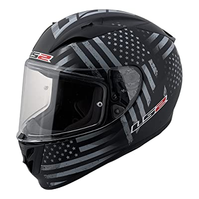 LS2 Arrow Old Glory Full Face Motorcycle Helmet (Black/Gray, Small)