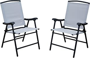 SLN Outdoor Folding Lawn Chairs with Steel Frame,Portable for Lawn/Garden/Patio/Beach 2 Sets, Black Frame/Beige Cushion
