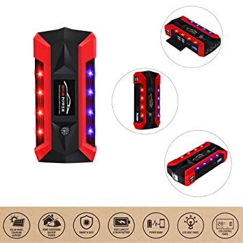 BQT Coche De Arranque Cargador De Coche 600A Portátil De Arranque Encendedor Coche De Arranque Móvil Power Car Cargador 4USB con Luz LED: Amazon.es: ...