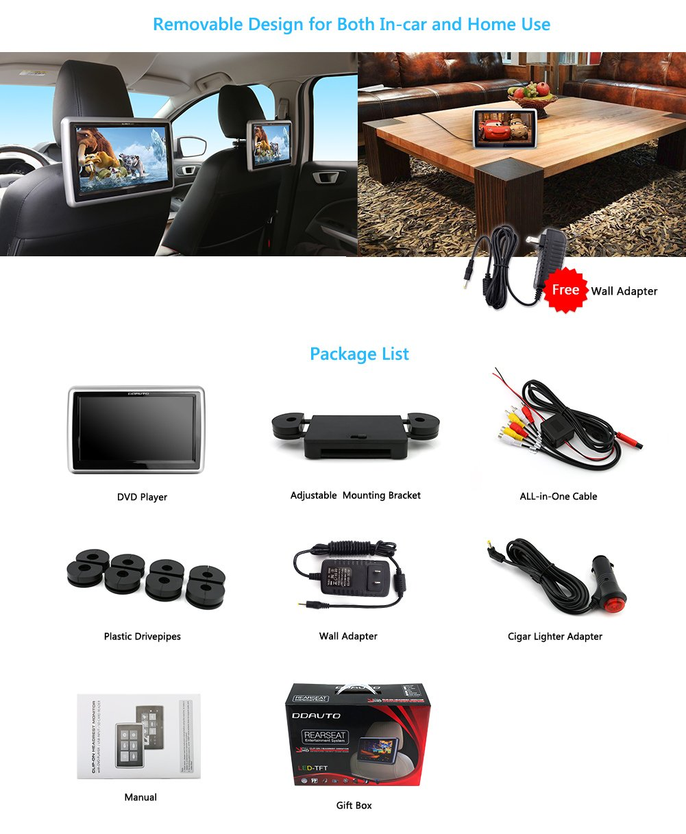 DDAUTO Car Headrest DVD Player 10.1 Inch Touch Screen 1080P Multimedia Monitor with Suction Drive Supports CPRM DVD SD USB by DDAUTO (Image #7)