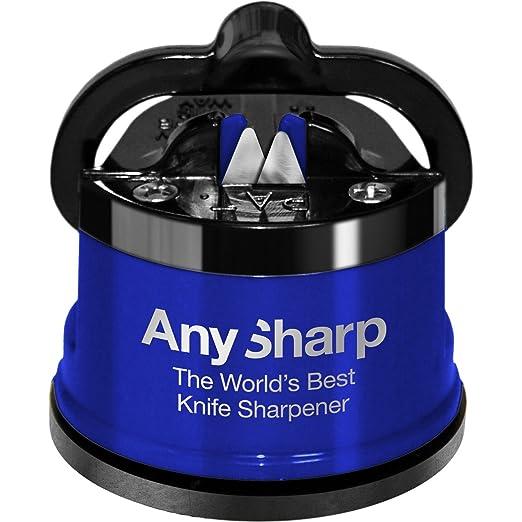 100 opinioni per Anysharp Affilacoltelli Pro Metal Con Ventosa, Lega Di Acciaio, Blu, 6x6x6.4 cm