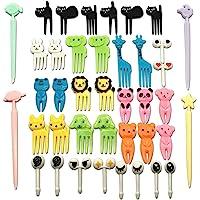CKANDAY Set of 40 Lovely Animal Food Fruit Picks Forks, Mini Cute Cartoon Toothpick Sticks Decor for Kids Party Bento…