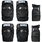OMID Kids/Adult Skateboard Knee Pads, Professional 6Pcs Protective Gear Elbow Pads Wrist Guards for Rollerblading…