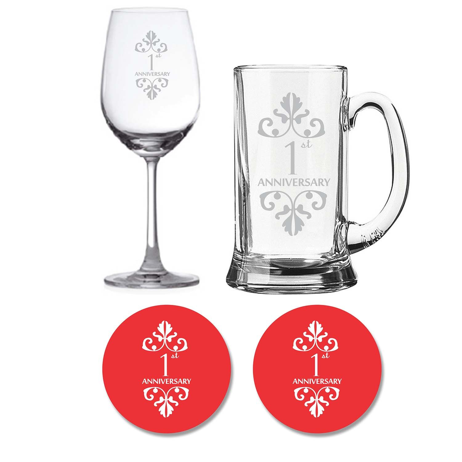 Anniversary Gifts - Beer Wine Glass Combo