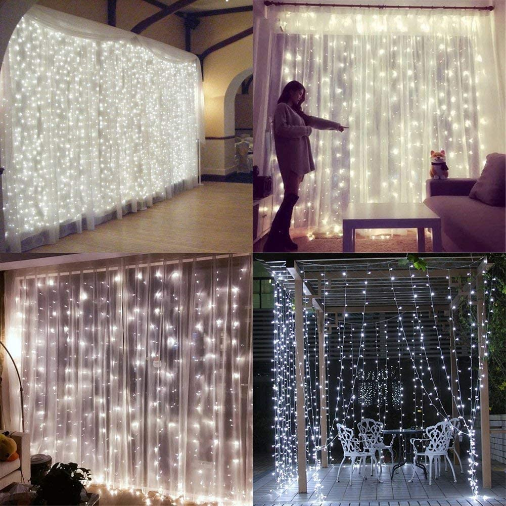 YULIANG LED Curtain Lights,9.8x9.8ft 8 Mode 300 LED Plug in Twinkle String Lights for Home, Garden, Kitchen, Outdoor Wall, Party, Window Decorations with UL Certificate