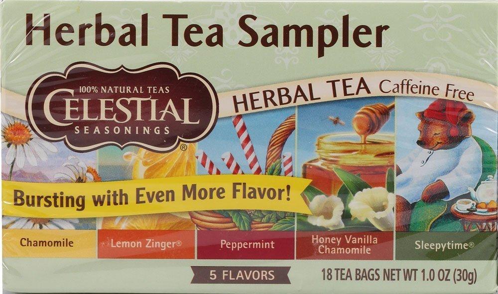 Celestial Seasonings Herbal Tea Sampler with 5 Flavors 18 ea ( Pack of 6)