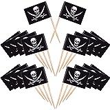 Blulu 100 Pezzi Cocktail Pirata Bandiere di Stuzzicadenti Topper per Torte per Cibo, Antipasto, Cocktail, Cupcake Decorazione per Bambini Halloween Compleanno Festa Decorazione