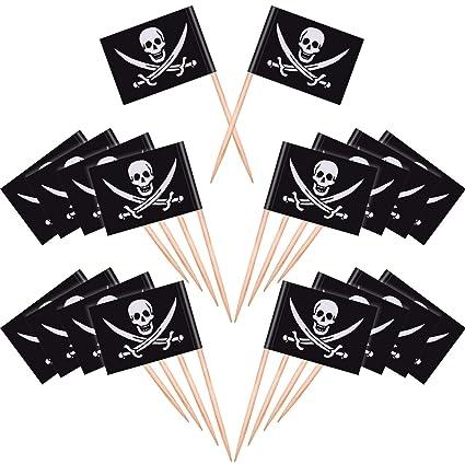 Blulu 100 Pezzi Cocktail Pirata Bandiere di Stuzzicadenti Topper per ... e3d4c10e7d2c