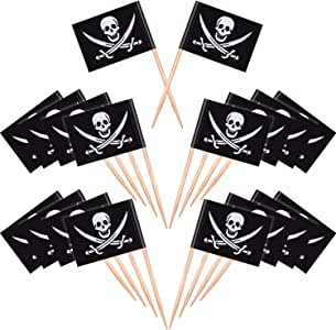 100 Pieces Pirate Cocktail Toothpicks Flags Cake Toppers for Food, Appetizer, Cocktail, Cupcake Decoration for Kids Halloween Birthday Party Decorations (100)