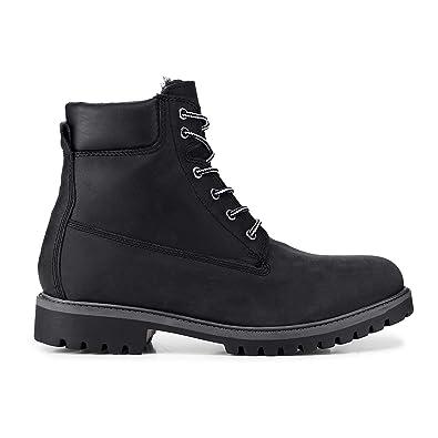 Cox Herren Winter Boots aus Leder, Schnür Stiefel in Schwarz