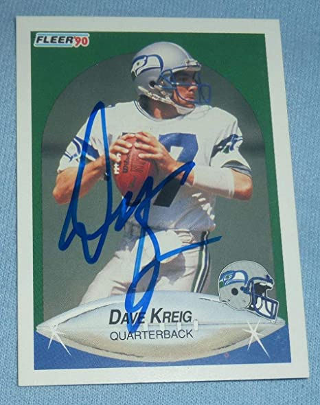21a93fd31 Image Unavailable. Image not available for. Color: Dave Krieg Signed 1990  Fleer Seahawks Football Card 269 Autograph ...