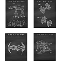 Star Wars Patent Wall Art Prints - set of Four (8x10) Unframed - wall art decor for Star Wars fans