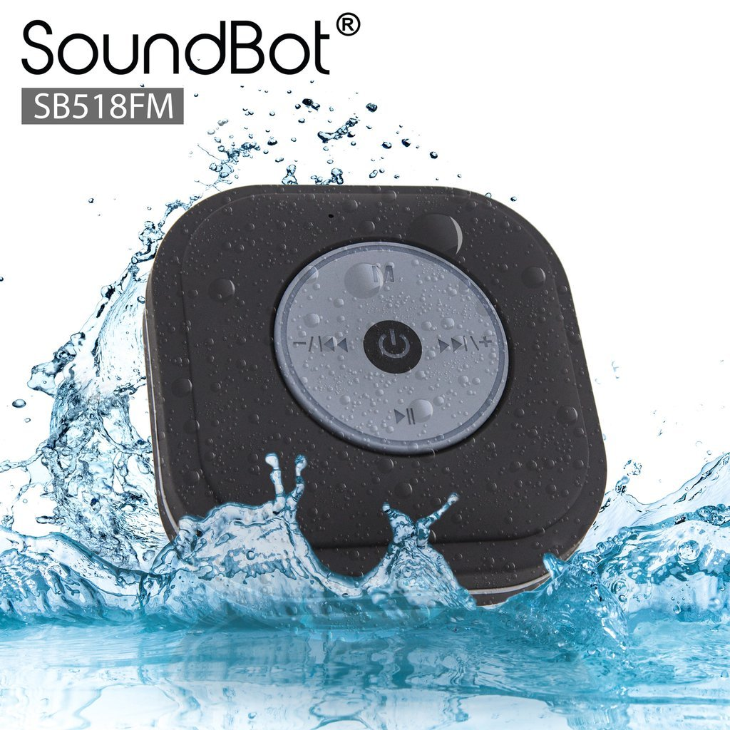 SoundBot® SB518FM FM RADIO Water Resistant Bluetooth Wireless Shower Speaker Hands-Free Portable Speakerphone w/ Smart One Touch Auto-Scan, 6Hrs Music Streaming, Built-in Mic, Detachable Suction Cup