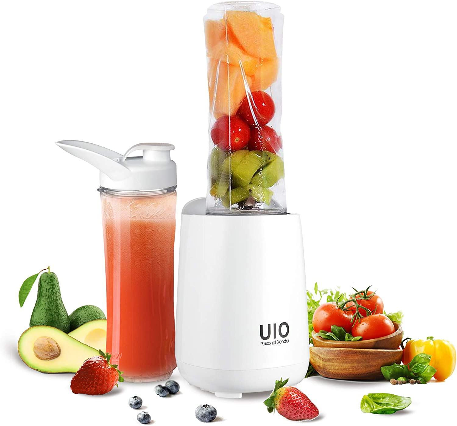 Personal Blender UIO, 250W Smoothies Blender for Shakes and Smoothies, Mini Blender, 2×20oz Travel Cups, Small Portable Blender for Ice Blending, Fruit Juice, Protein Meal Pre