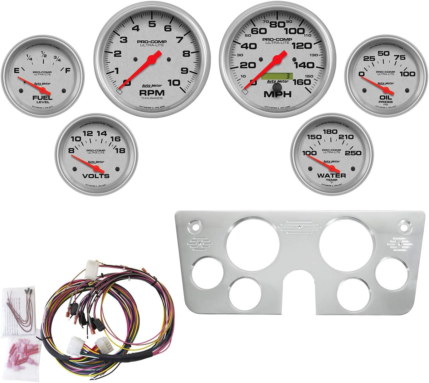 Ultra-Lite Chevy Truck 67-72 6 Pc Tach//Mph//Fuel//Oilp//Wtmp//Volt AutoMeter 7045-UL Gauge Kit