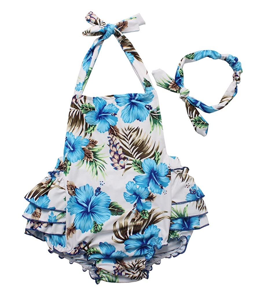 One Piece Redbub Floral Ruffles Rompers Bathing Suits Dress with Headband Three Babies_156