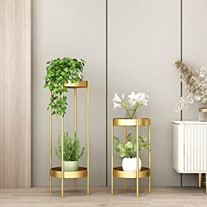 Metal Tall Plant Stand Indoor/Outdoor,Potted Plant Stand Plant Rack Planter Stand,Iron Flower Pot Holder Small Plant Holders,Flower Pot Stand Flower Pot Supporting,for Home,Garden,Patio(Gold,24in)