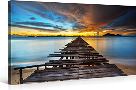 Amazon Com Large Canvas Print Wall Art Pier To Paradise 40x20 Inch Nature Landscape Canvas Picture Stretched On A Wooden Frame Giclee Canvas Printing Hanging Wall Deco Picture