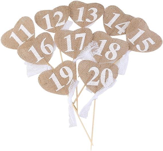 OULII Números de mesa de boda 10pcs 20 11 corazón forma Banner ...