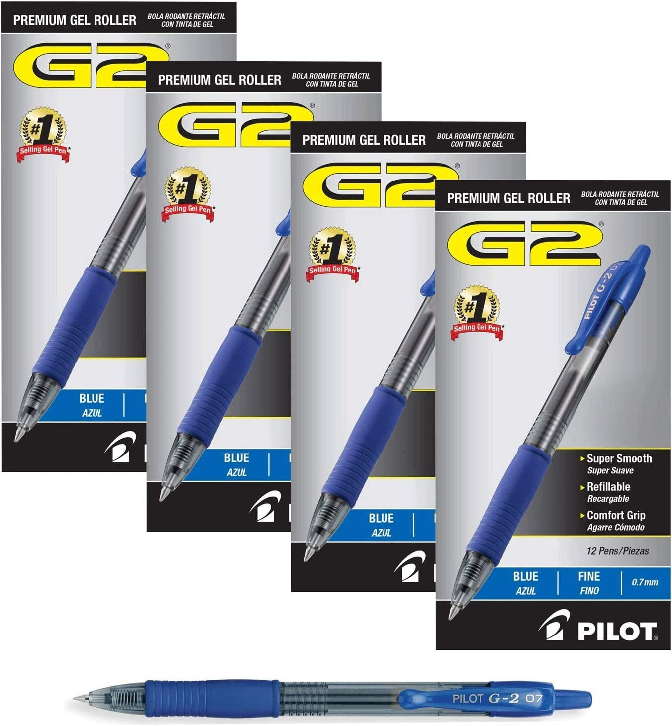 PILOT G2 Premium Refillable & Retractable Rolling Ball Gel Pens, Fine Point, Black Ink, (48-Pack, Blue): Office Products