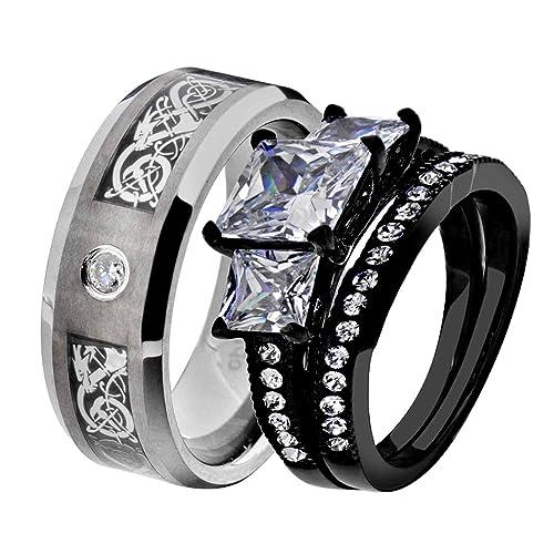 Amazon.com: Juego de anillos de boda con diseño de Su y Hers ...