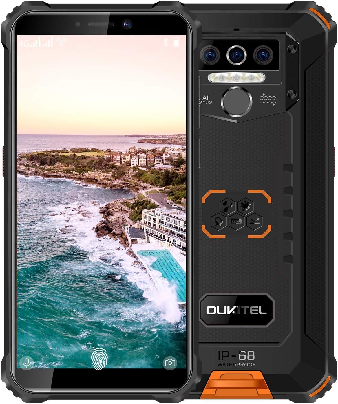 "Rugged Smartphone Unlocked OUKITEL WP5(2020) Android 10.0 Dual Sim Cell Phone 4GB+32GB 8000mAh IP68 Waterproof 5.5"" International Version GSM 4G AT&T T-Mobile(Orange)"
