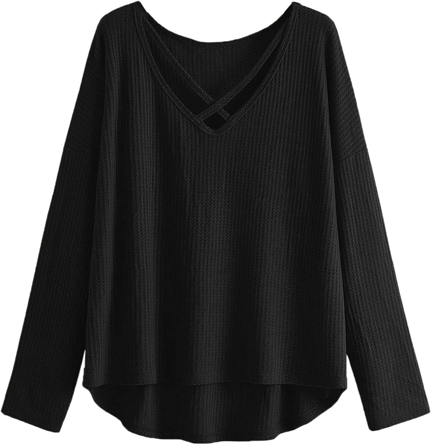 ROMWE Womens Plus Size Casual V Neck Criss Cross Long Sleeve Drop Shoulder Sweater