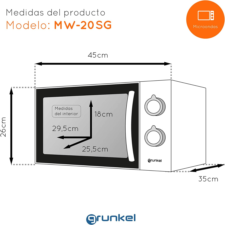 20 litri Grunkel EU048800170022 Microonde 700 W in alluminio
