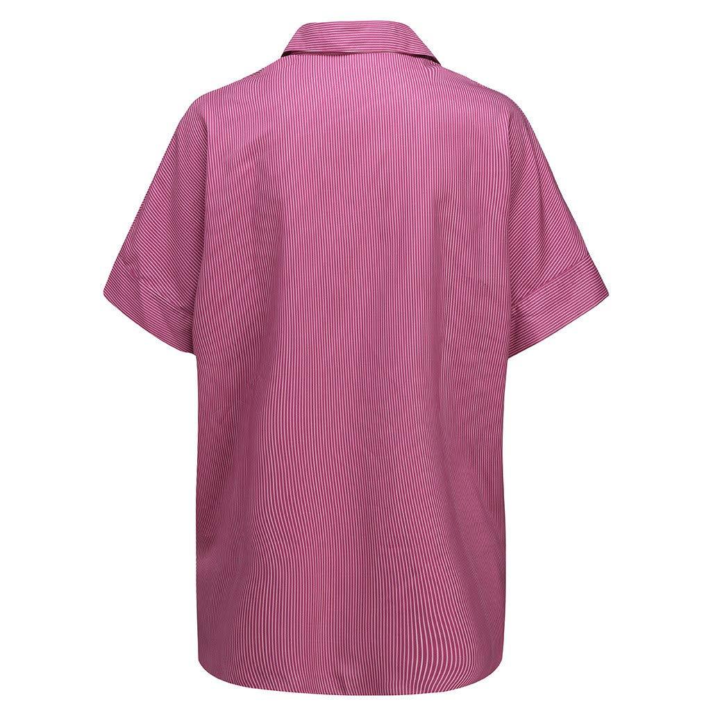 NIKAIRALEY T-Shirt Womens Fashion Stripe Printing Lapel Button Blouse Plus Size Short Sve Casual Loose Tops Tees T-Shirts