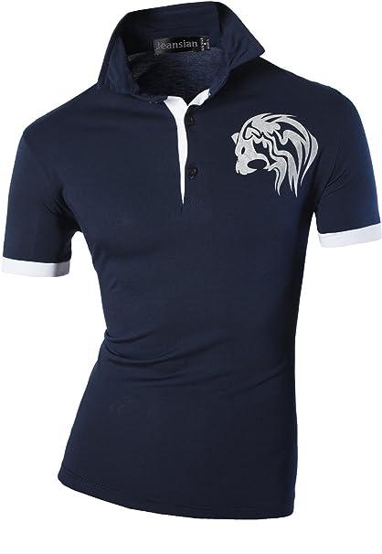 Jeansian Uomo Sportivo Manica Corta Moda Tatuaggio Casuale Cime Polos Men Fashion T-Shirts D403