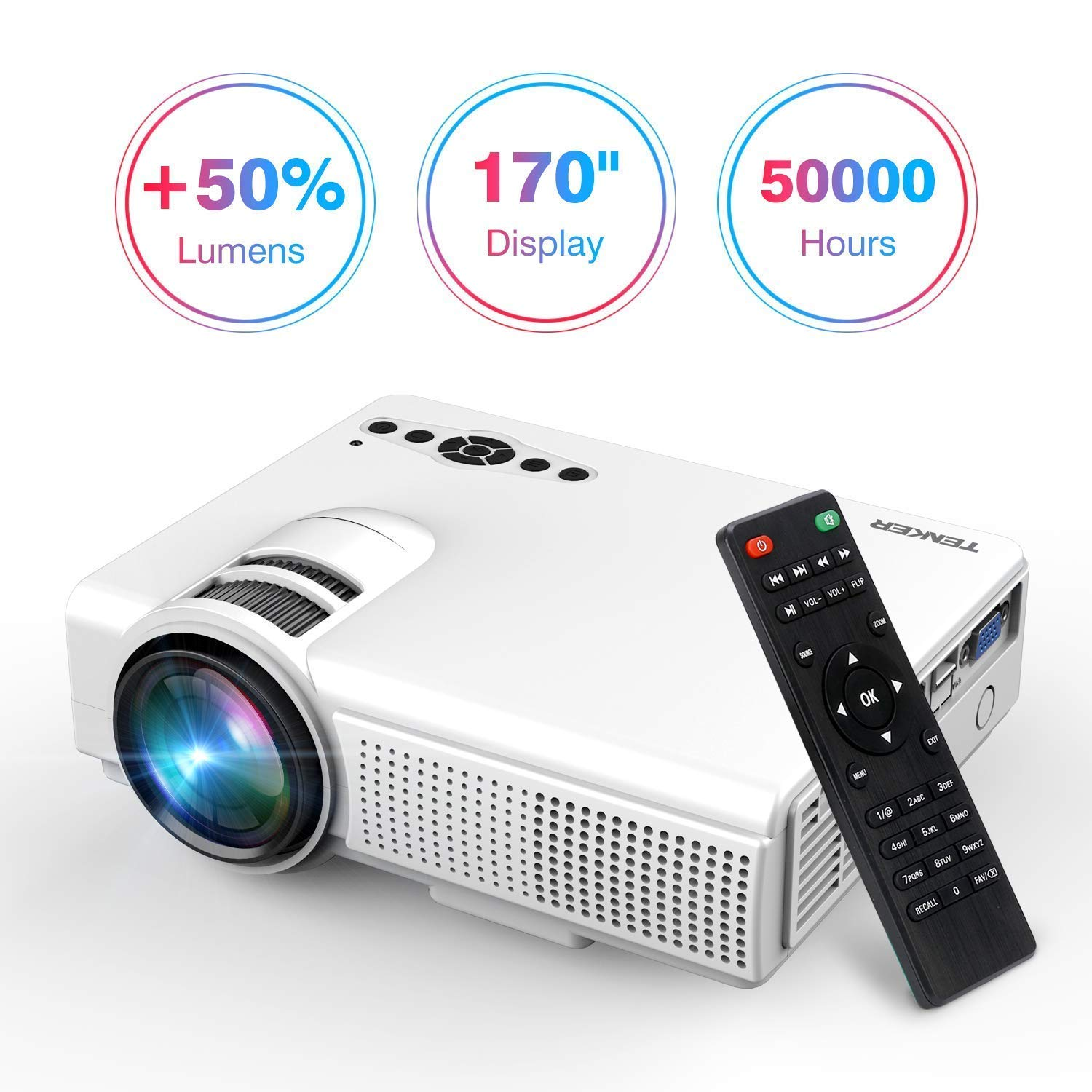 TENKER Upgrade Lumens Q5 Mini Projector, with Big Display LED Full HD Video Projector, Compatible with 1080p HDMI, Fire TV Stick, VGA, USB, AV for Home Theater Entertainment, Party and Games (White) by TENKER (Image #1)
